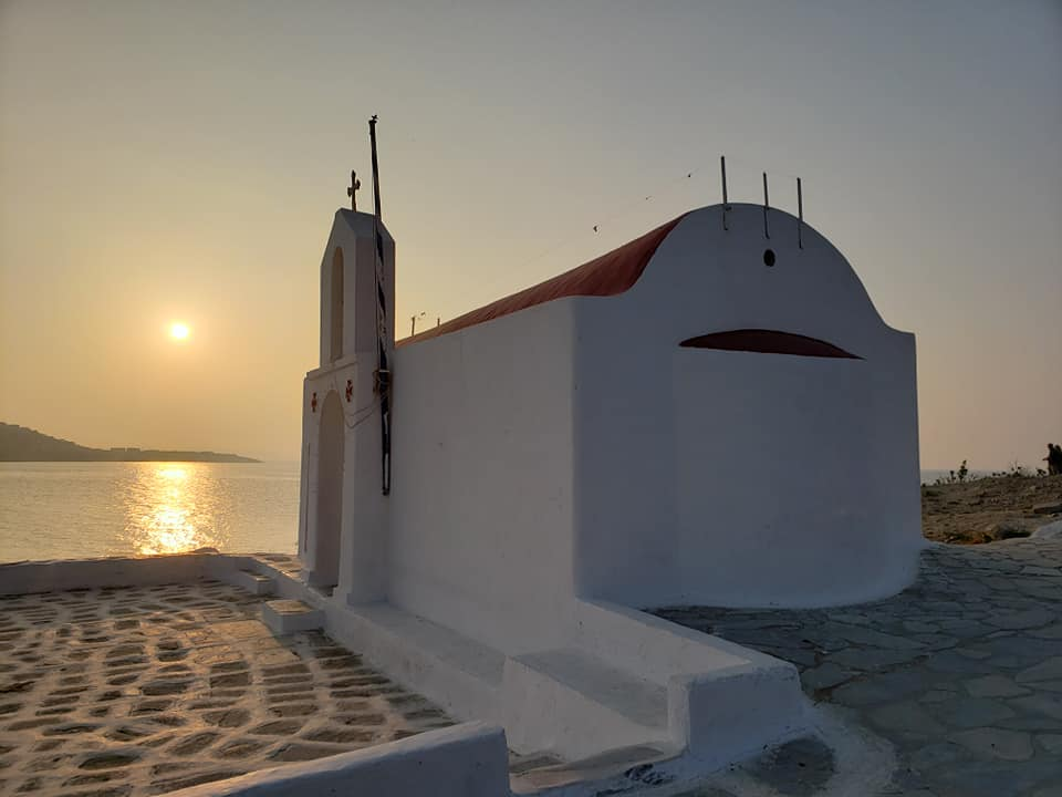Mykonos sunset and Greek Orthodox church by Tracy Cahill